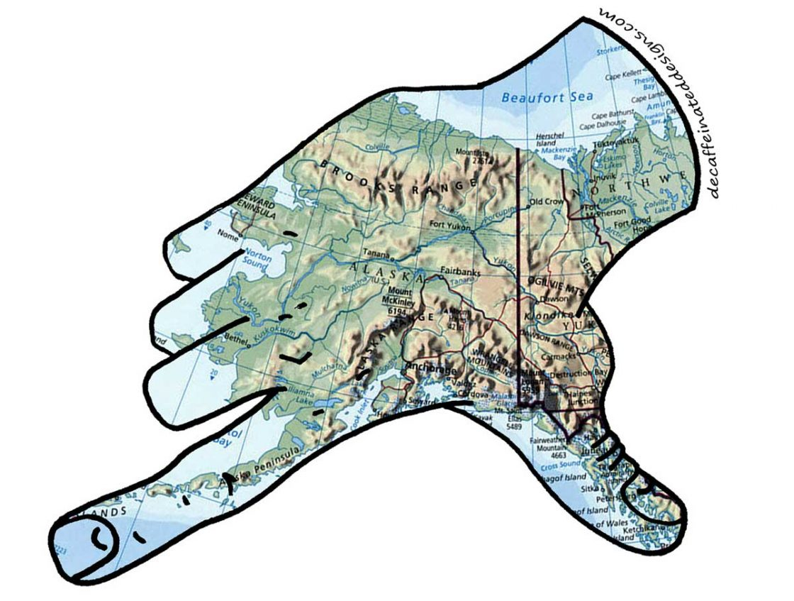 State of Alaska map with outline of a hand around it