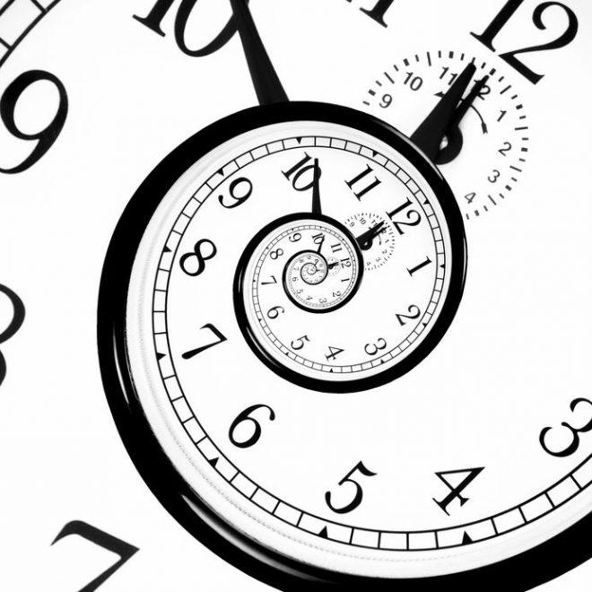 A circular clock that spirals, making time appear endless